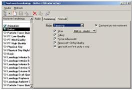 Dialog pro nastavení renderingu byl přepracován a výrazně zjednodušen